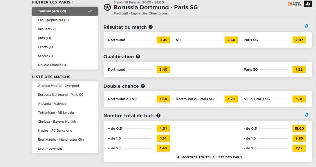 paris dortmund pronostic