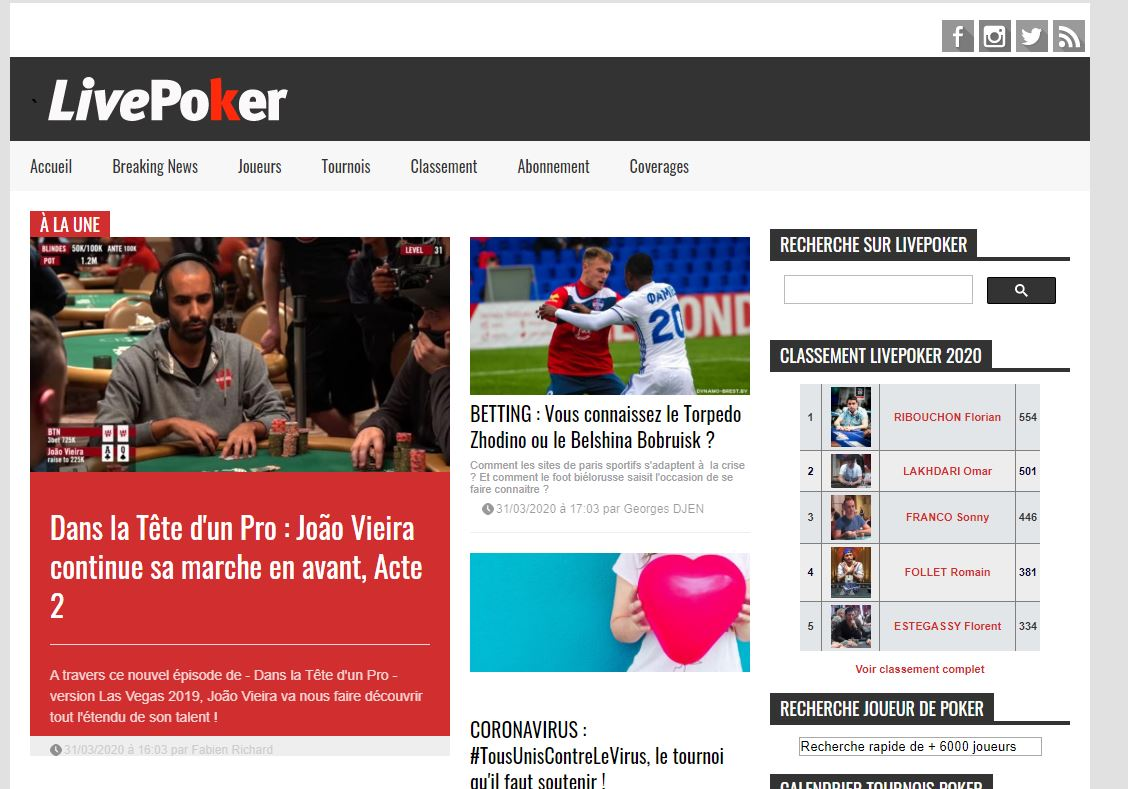 site internet de live poker