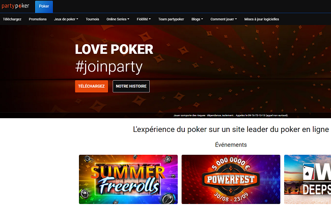 page d'accueil partypoker