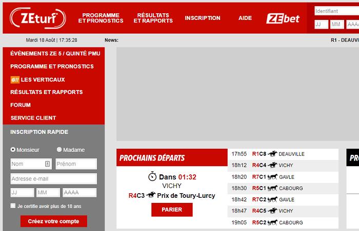 page d'accueil zeturf